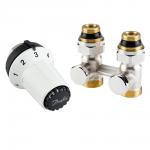 """Комплект радиаторных терморегуляторов для нижнего подключения радиатора клапан RLV-KS прямой, термоголовка  RAS-CК (радиаторы с встроенными вентильными вставками М30х1.5), подключение к системе G3/4""""  подключение к радиатору R1/2"""""""