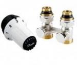 """Комплект радиаторных терморегуляторов для нижнего подключения радиатора клапан RLV-KS прямой, термоголовка  RAS-C (радиаторы с встроенными вентильными вставками Данфосс), подключение к системе G3/4""""  подключение к радиатору R1/2"""""""