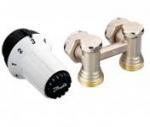 """Комплект радиаторных терморегуляторов для нижнего подключения радиатора клапан RLV-KS угловой, термоголовка  RAS-C (радиаторы с встроенными вентильными вставками Данфосс), подключение к системе G3/4""""  подключение к радиатору R1/2"""""""