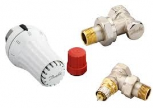 Комплект радиаторных терморегуляторов угловой, клапан RA-N, термоголовка RAE, клапан запорный RLV-S