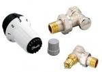 Комплект радиаторных терморегуляторов угловой, клапан RA-FN, термоголовка RAS-C, клапан запорный RLV-S